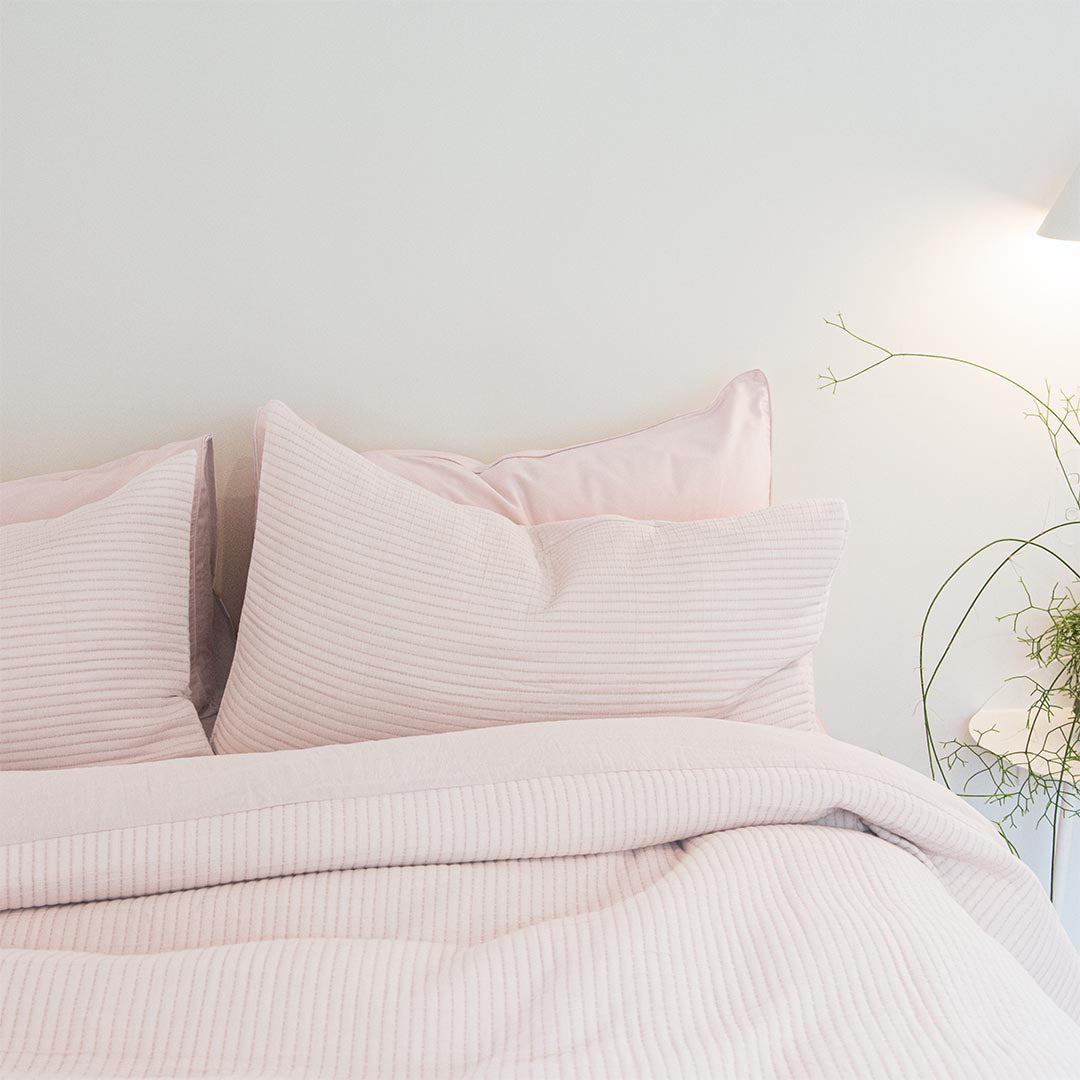 Parker Quilted Pillowcases - Blush