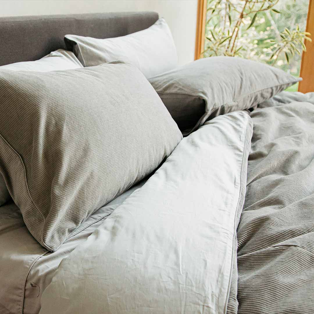 Darcy Corduroy Pillowcases - Dove Grey