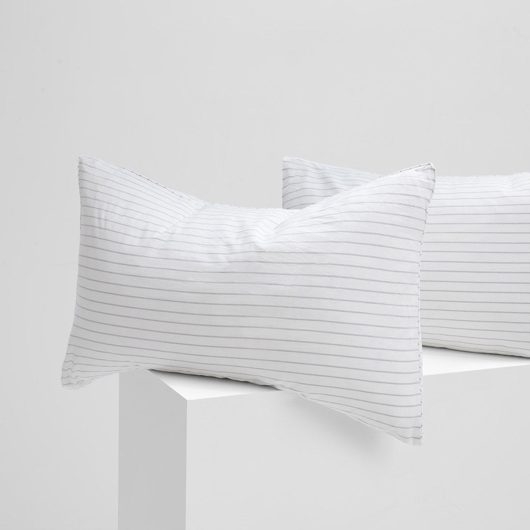 Leo Washed Cotton Pillowcases - Dove Grey Wide Stripe