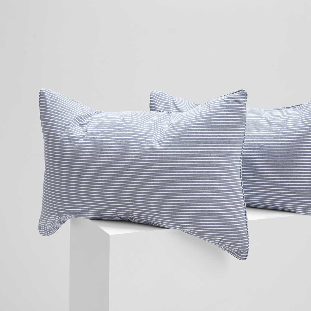 Leo Washed Cotton Pillowcases - Midnight Stripe