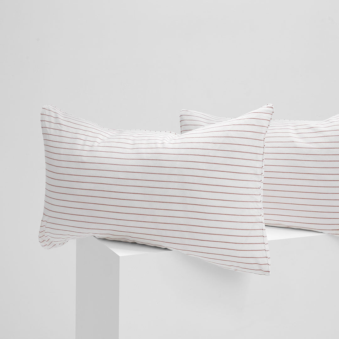 Leo Washed Cotton Pillowcases - Rust Stripe