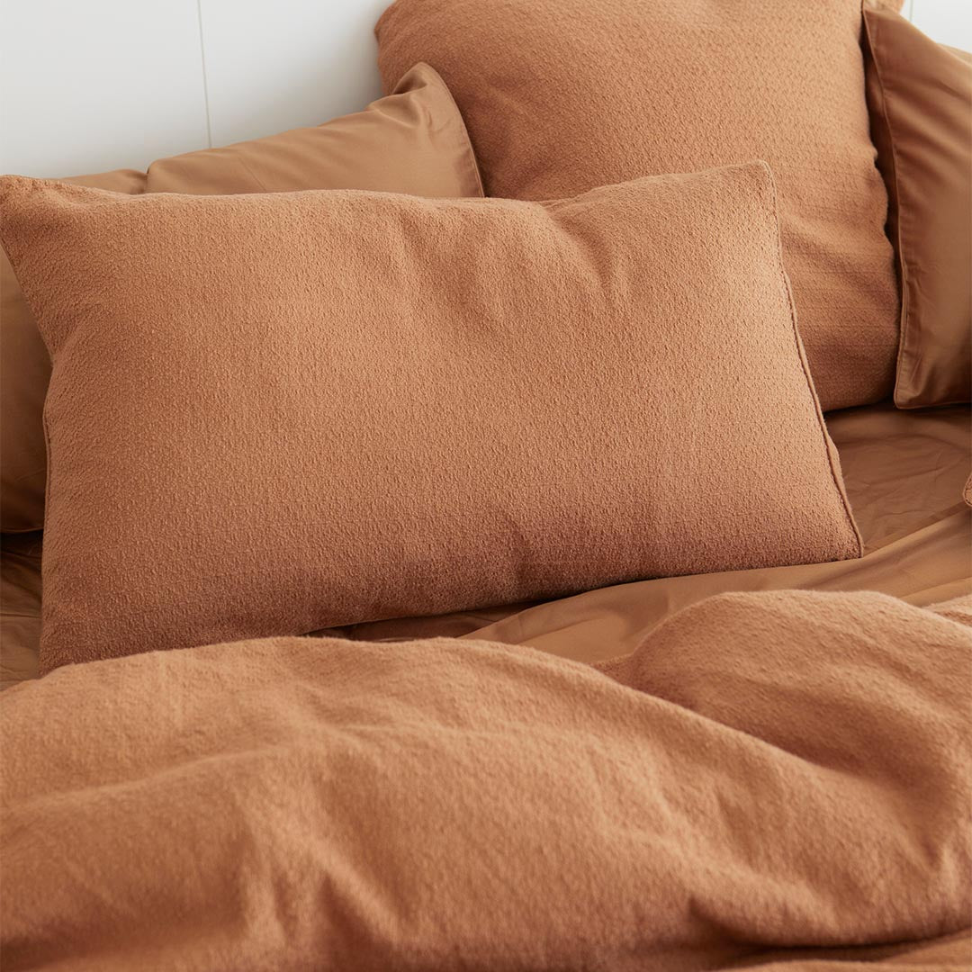 Lola Bouclé Pillowcases - Terracotta