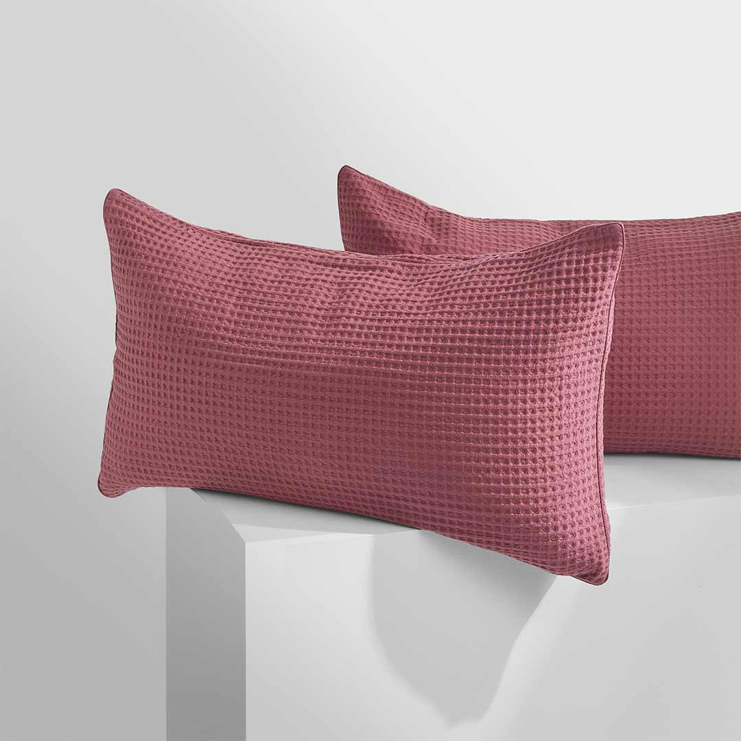 Tully Waffle Pillowcases - Rose