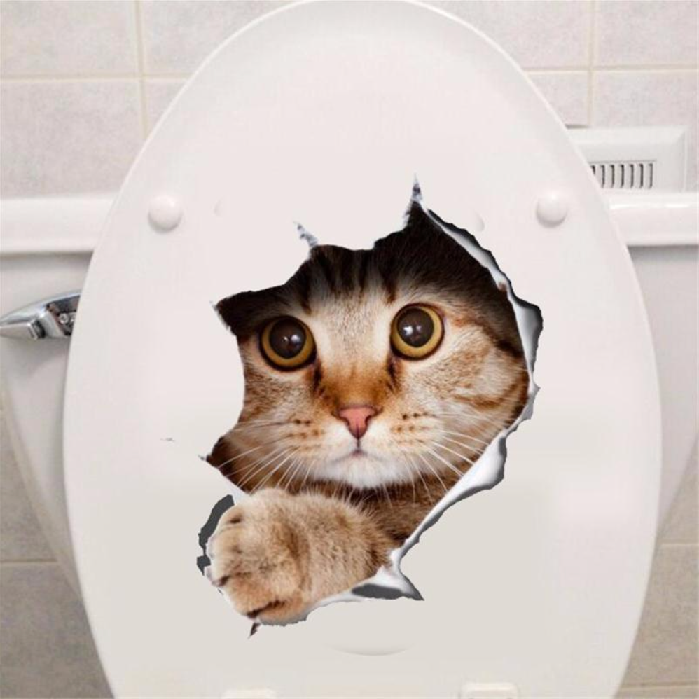3D Cats Toilet/Wall Stickers