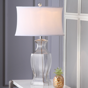 Glass And Silver Iron 27.5-inch Table Lamps With White Fabric Blend Shades (Set Of Two)