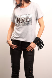 Live Wire Apparel Kella Tee Shirt Super soft Grey Marle sequin top tshirt NYC New York City