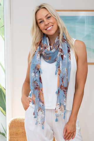 Print Scarf (duck egg blue)