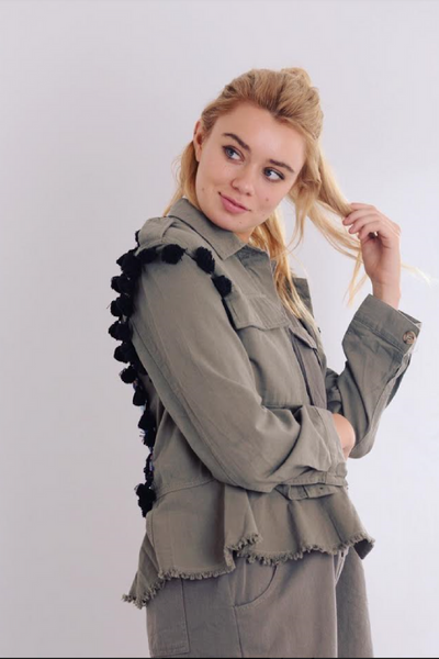Back Embroidered Khaki Jacket (Paper Heart)