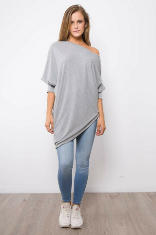 Asymetrical Sweater Top - Grey Marle