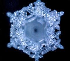 A photograph of a water crystal of mineral water