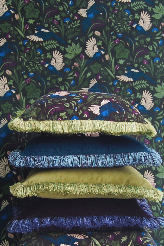 Hebden Printed  and Plain Velvet Fringe Cushion