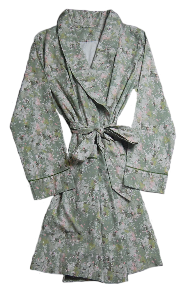 Greens Cotton Printed Robe