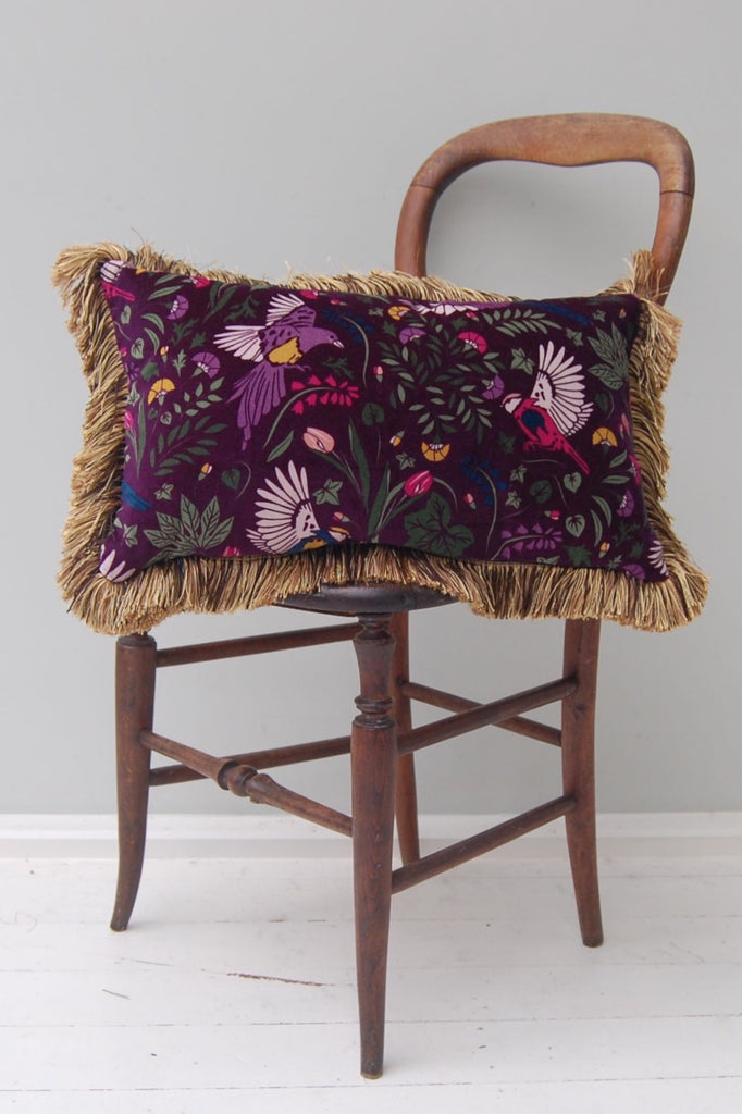 Mill Printed and Plain Fringe Velvet Cushion