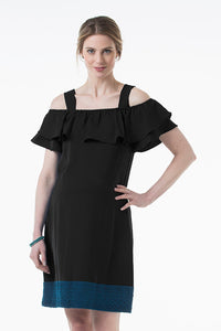 Clia Off-Shoulder Maternity and Nursing Dress - front view