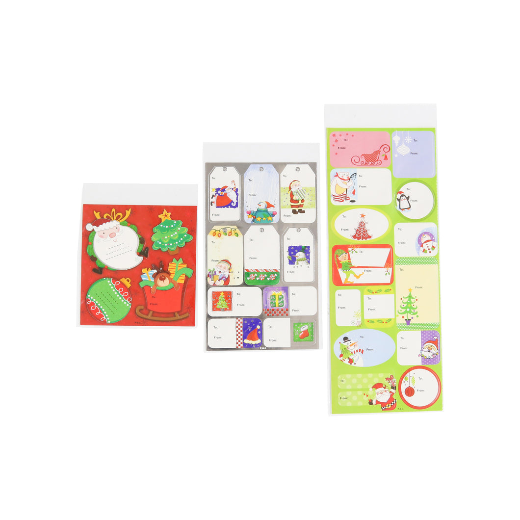 CHRISTMAS GIFT TAG STICKERS (ASSORTED DESIGNS)