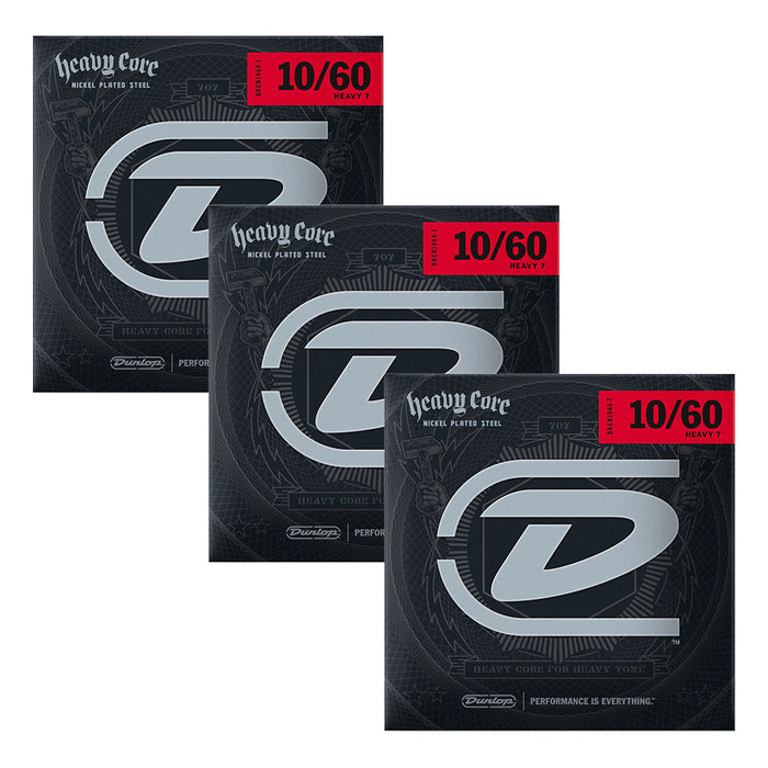 3-PACK! Dunlop Heavy Core 7 NPS Guitar 7-String (10-60 Gauge) DHCN1060-7
