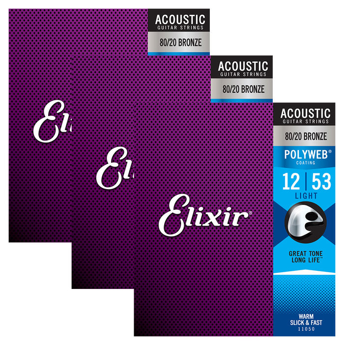 3 Pack! Elixir Light 12-53 Acoustic 80/20 Bronze Strings Polyweb 11050