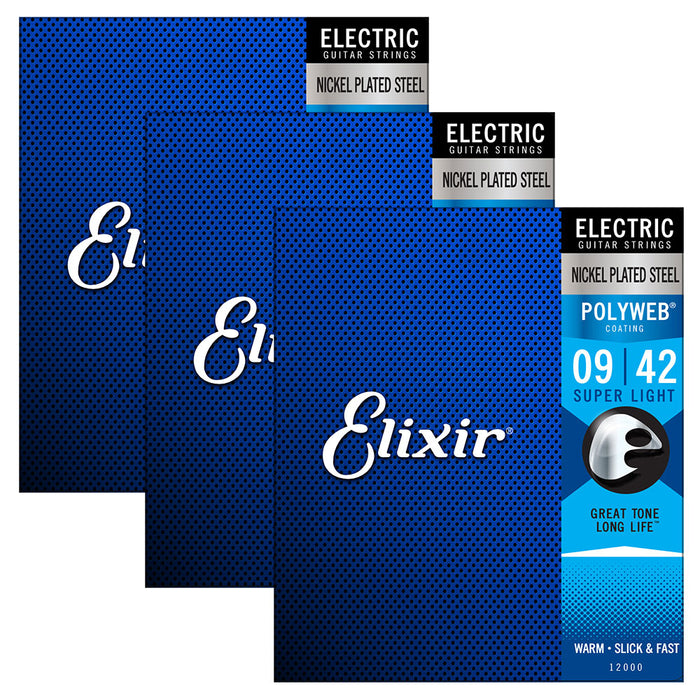 3 Pack! Elixir Super Light 9-42 Electric Nickel Plated Strings Polyweb 12000