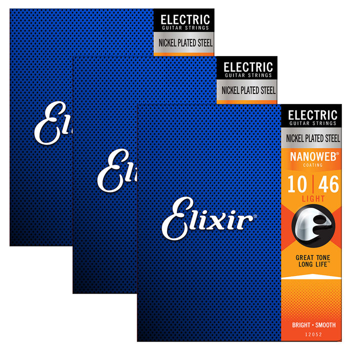 3 Pack! Elixir Light 10-46 Electric Nickel Plated Strings Nanoweb 12052