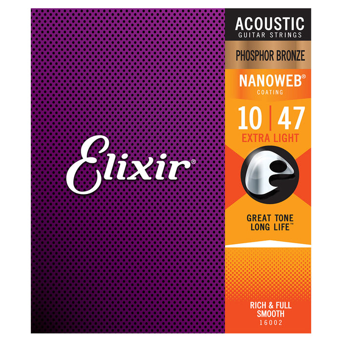 Elixir Extra Light 10-47 Acoustic Phosphor Bronze Nanoweb Strings 16002