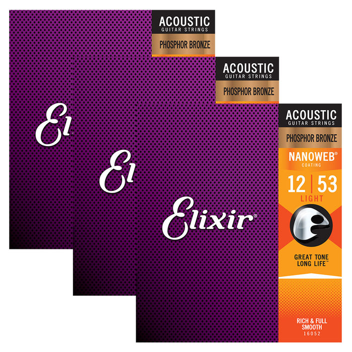 3-Pack! Elixir Light 12-53 Acoustic Phosphor Bronze Nanoweb 16052