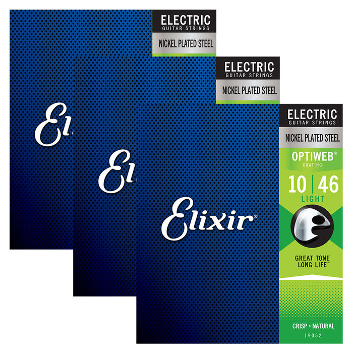 3 Pack! Elixir Light 10-46 Electric Nickel Plated Steel Strings Optiweb 19052