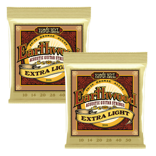 2 Sets! Ernie Ball 2006 Earthwound Light 80/20 Acoustic Guitar Strings 10-50