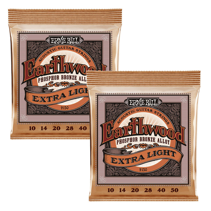 2 Sets! Ernie Ball 2150 Earthwound Acoustic Phosphor Bronze Strings 10-50