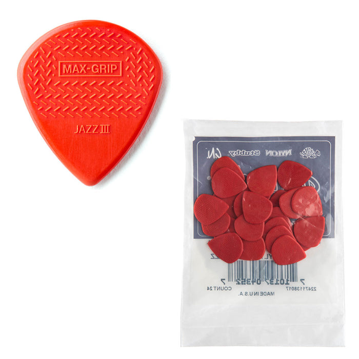 24-Pack Dunlop 471R3N Max-Grip Jazz III Nylon Guitar Picks