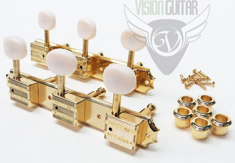 TonePros TPKR3-G Kluson Tuners 3 On A Plate Rail - Gold - 8 8mm