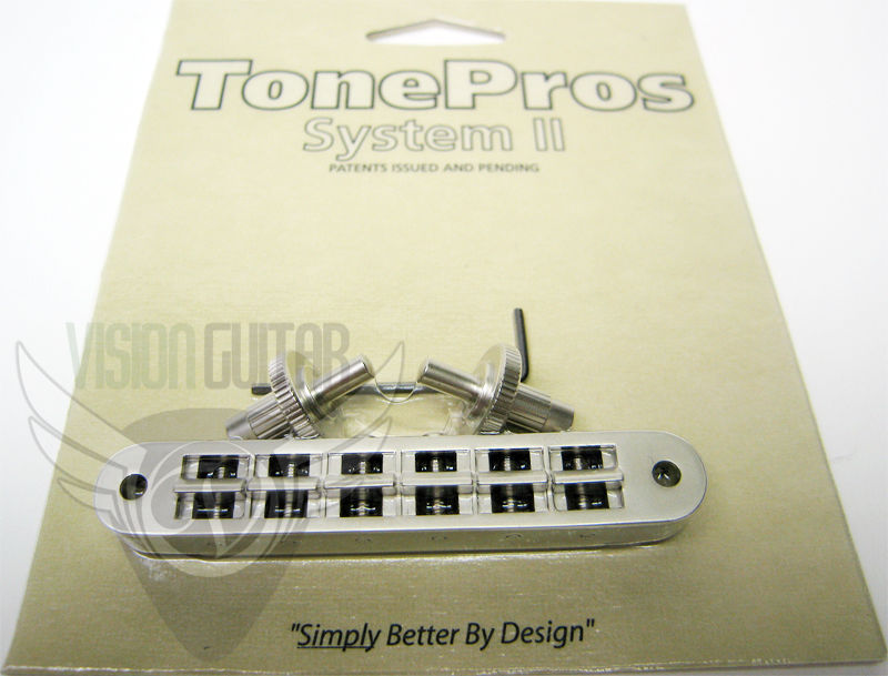 TonePros Nashville Un-Notched Tune-O-Matic Bridge TP6-SN SATIN NICKEL