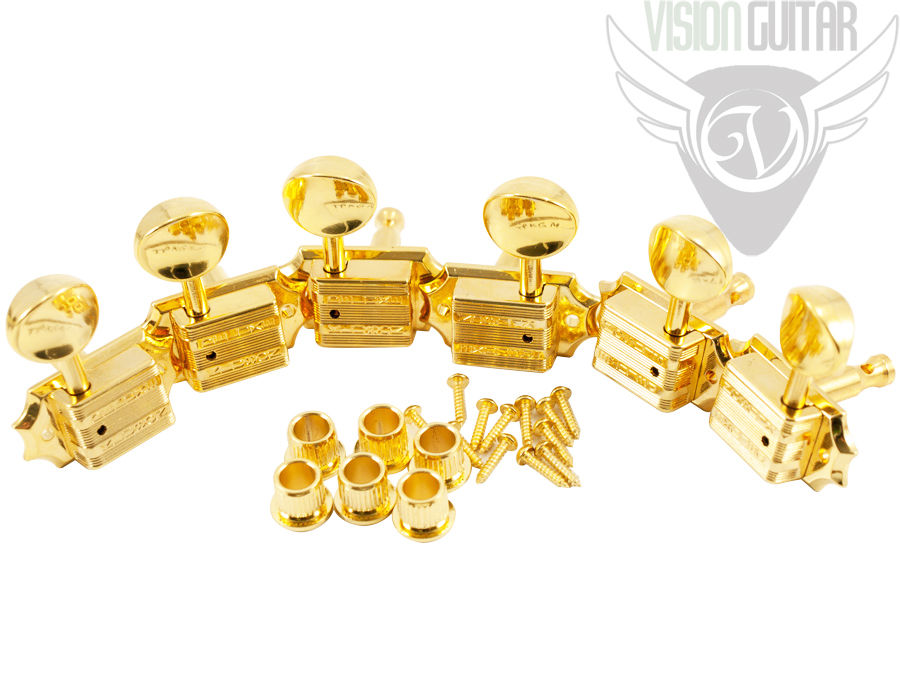 Tone Pros Kluson 3x3 Tuners - Vintage Press-In Bushings Gold (TPKGM-G)