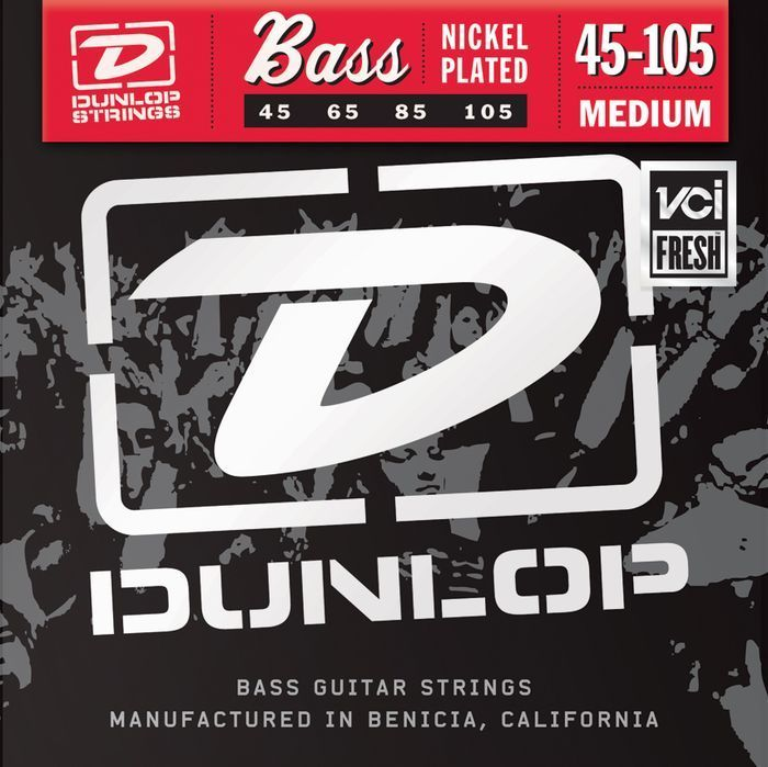 Dunlop Nickel Plated Steel Bass Strings (45-65-85-105 Medium Gauge) DBN45105
