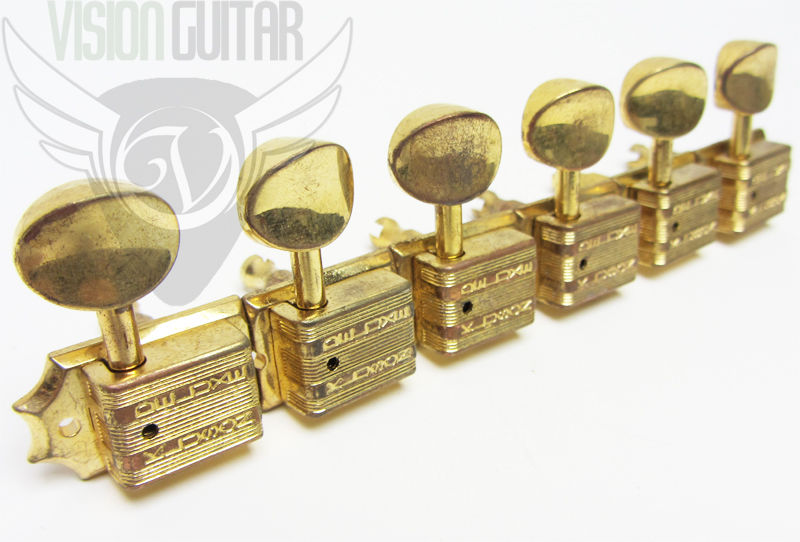 Tone Pros Kluson 6 In Line Tuners 10mm Grover Bolt Bushings TPKF6B-AG AGED GOLD