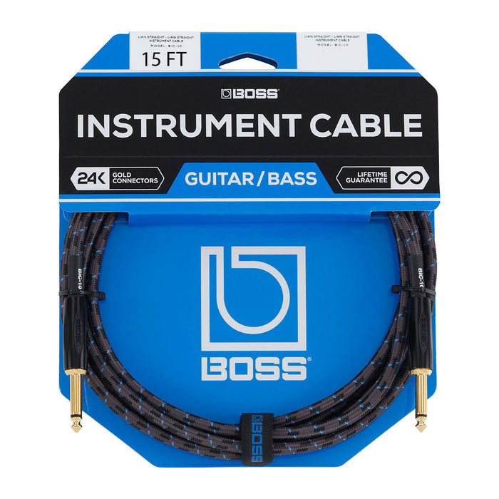 Boss BIC-15 15' Instrument Cable Straight Plugs