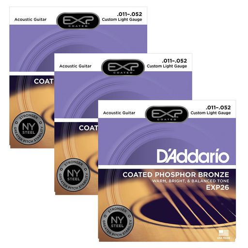 3-Pack! D'Addario EXP26 Coated Phosphor Bronze, Custom Light, 11-52