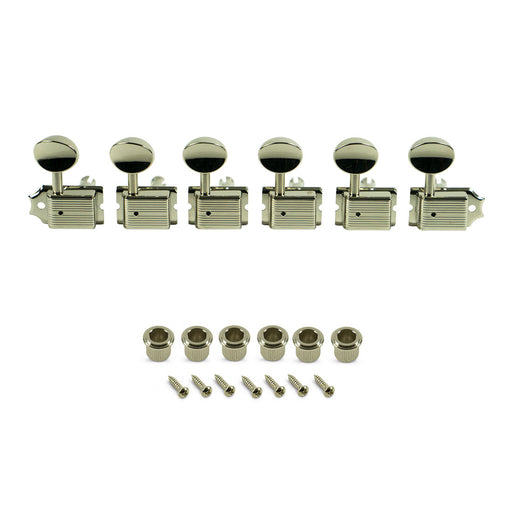 Kluson 6 In Line Deluxe Series Tuning Machines Nickel Metal Buttons