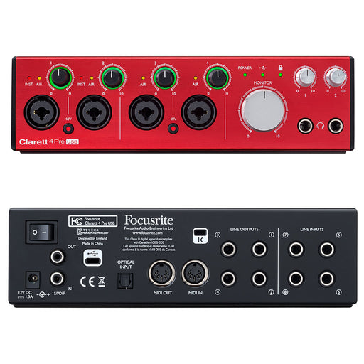 Focusrite Clarett 4Pre USB 18-in 8-out Professional Audio Interface