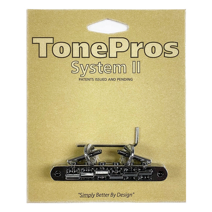 TonePros ABR1 Tune-O-Matic Bridge Un-Notched Saddles AVR2-B Black
