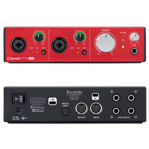 Focusrite Clarett 2Pre USB 10-in 4-out Professional Audio Interface