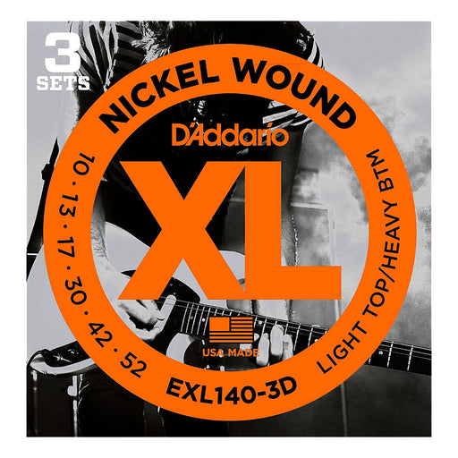 D'Addario EXL140-3D Guitar Strings 10-52 Nickel Wound LT Top/Hvy Bottom (3-Pack)