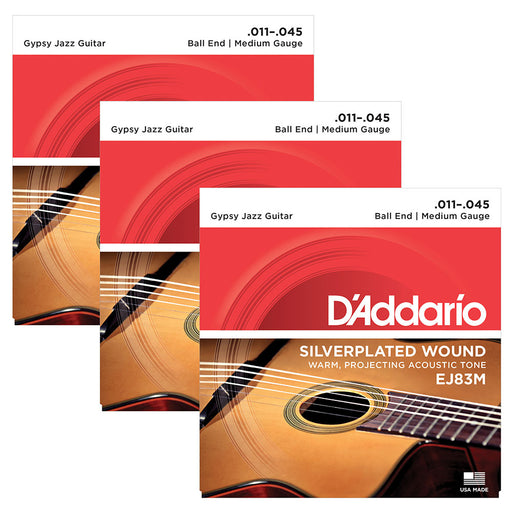 3-Pack D'Addario EJ83M Gypsy Jazz Ball End Medium 11-45