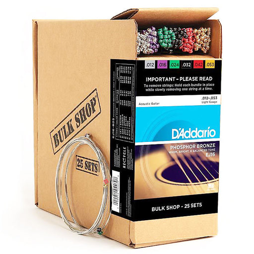 D'Addario EJ16-B25 Phosphor Bronze Guitar Strings Bulk 12-53 Gauge (25 Sets)