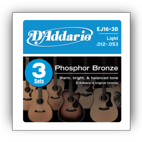 (3 Sets) D'Addario EJ16-3D Acoustic Guitar Strings Gauge 12-53