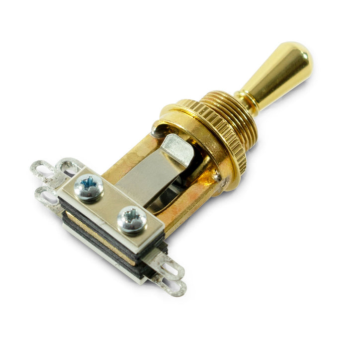 Switchcraft Short Straight Type 3-Way Toggle Switch Gold w/Gold Tip