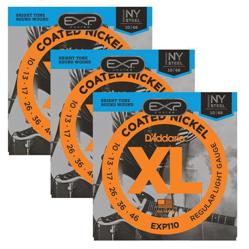 D'Addario EXP110 Coated Nickel Wound Guitar Strings 10-46 Gauge (3 Full Sets)