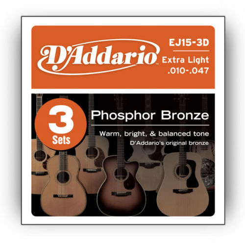 (3 Sets) D'Addario Phosphor Bronze Acoustic Guitar Strings 10-47 EJ15-3D