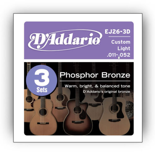 D'Addario Acoustic Guitar Strings Gauge 11-52 (3 Full Sets) EJ26-3D