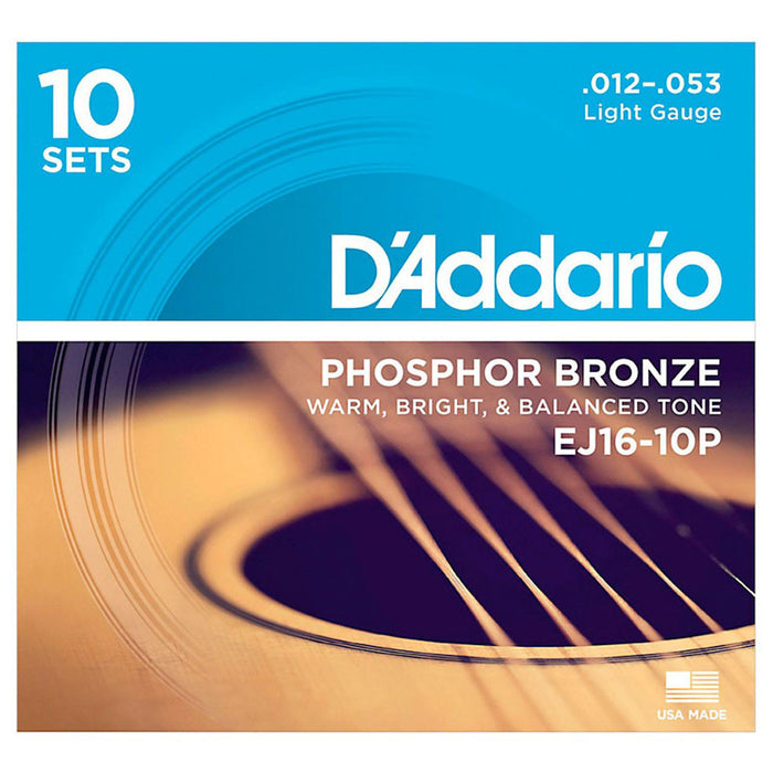 D'Addario Acoustic Guitar Strings Gauge 12-53 (10 Full Sets) EJ16-10P