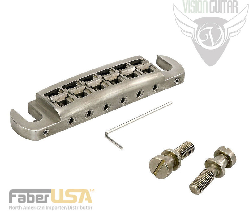 Faber Wraptonate Perfect Intonation Wraparound Bridge - Aged Nickel 3211-Metric